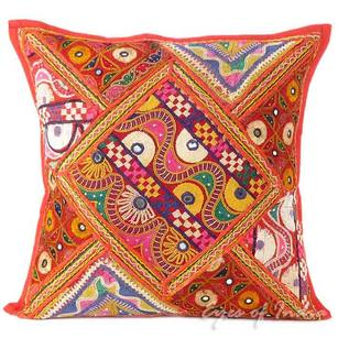 Red Rajkoti Patchwork Throw Pillow Boho Bohemian Couch Sofa Cushion Cover - 16""
