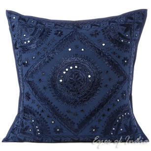 Blue Mirror Embroidered Sofa Decorative Throw Pillow Bohemian Cushion Cover - 16, 20, 24""