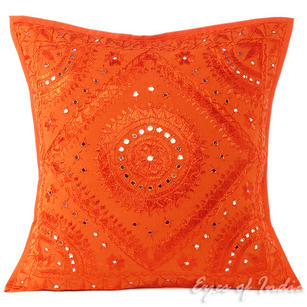Orange Mirror Embroidered Boho Decorative Throw Pillow Bohemian Cushion Cover - 16 to 24""