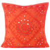 "Orange Mirror Embroidered Boho Colorful Decorative Sofa Throw Couch Pillow Cushion Cover - 16 to 24"" 1"