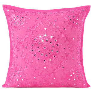 Pink Mirror Embroidered Sofa Colorful Decorative Throw Couch Pillow Bohemian Cushion Cover - 16 to 24""