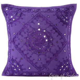 Purple Mirror Embroidered Boho Decorative Throw Pillow Bohemian Cushion Cover - 16 to 24""