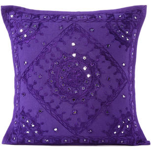 Purple Mirror Embroidered Boho Colorful Decorative Sofa Throw Couch Pillow Cushion Cover - 16 to 24""