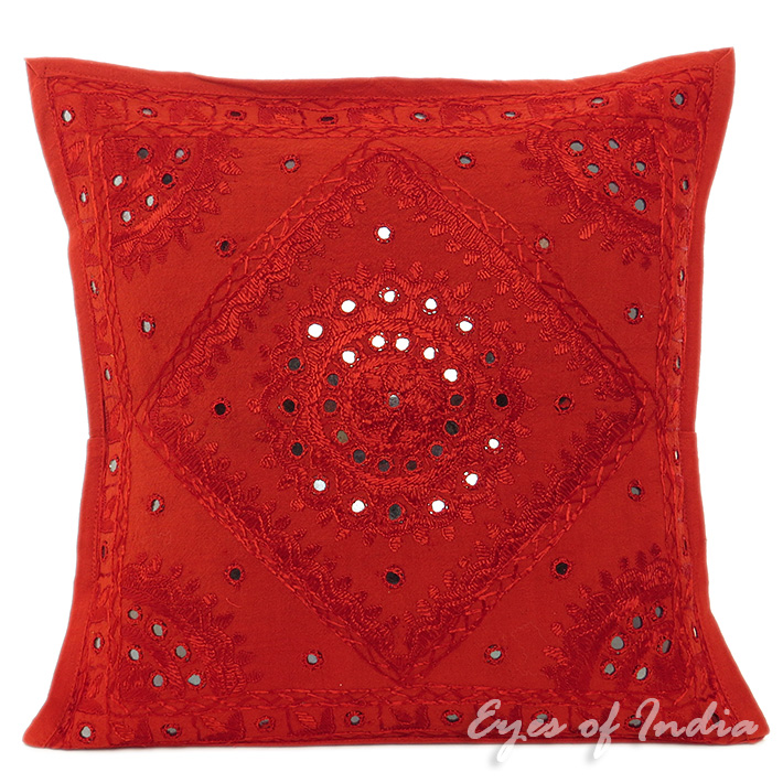 Red Mirror Colorful Decorative Embroidered Sofa Throw Couch Pillow Bohemian Cushion Cover - 16 to 24""