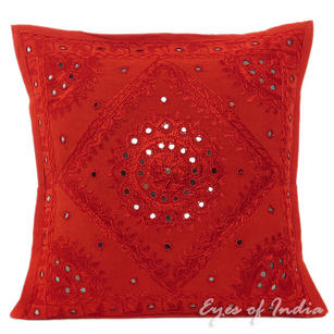 Red Mirror Decorative Embroidered Throw Pillow Bohemian Cushion Cover - 16 to 24""