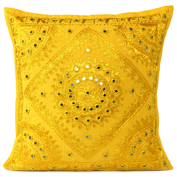 Yellow Mirror Colorful Decorative Embroidered Sofa Throw Couch Pillow Bohemian Cushion Cover - 16 to 24""