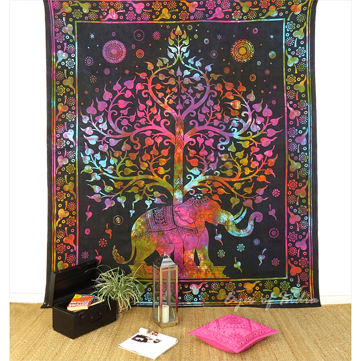 Elephant Tie Dye Tree of Life Boho Tapestry Wall Hanging Bedspread - Small and Large