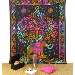 Elephant Tie Dye Tree of Life Boho Tapestry Wall Hanging Bedspread - Single, Double