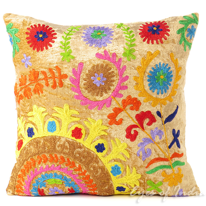 Suzani Embroidered Velvet Decorative Pillow Boho Couch Cushion