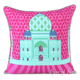 Taj Mahal Colorful Decorative Bohemian Throw Pillow Boho Couch Sofa Cushion Cover - 18""