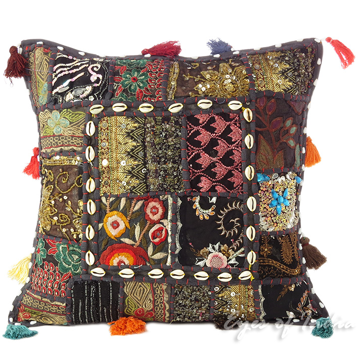 """Black Patchwork Decorative Boho Throw Pillow Cushion Cover with Shells - 16"""""""