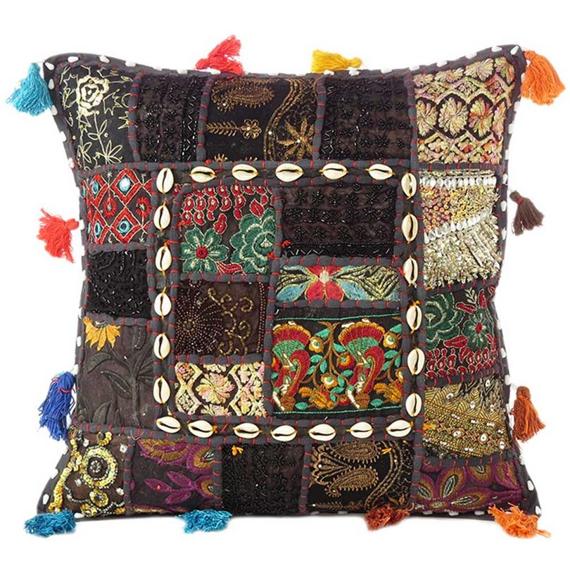 """Black Patchwork Colorful Decorative Boho Sofa Throw Couch Pillow Cushion Cover with Shells - 16"""""""