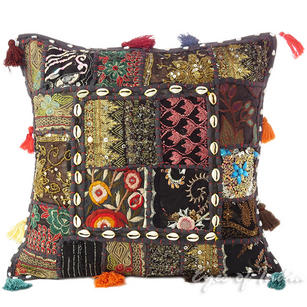Black Patchwork Decorative Boho Throw Pillow Cushion Cover with Shells - 16""