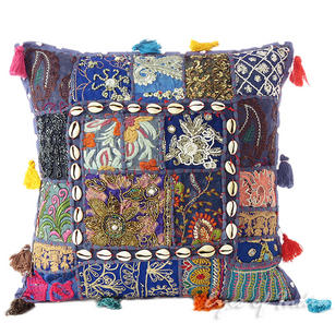 Blue Patchwork Colorful Decorative Bohemian Sofa Throw Couch Pillow Cushion Cover with Shells - 16""