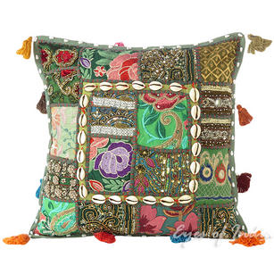 Green Patchwork Decorative Bohemian Throw Pillow Cushion Cover with Shells - 16""