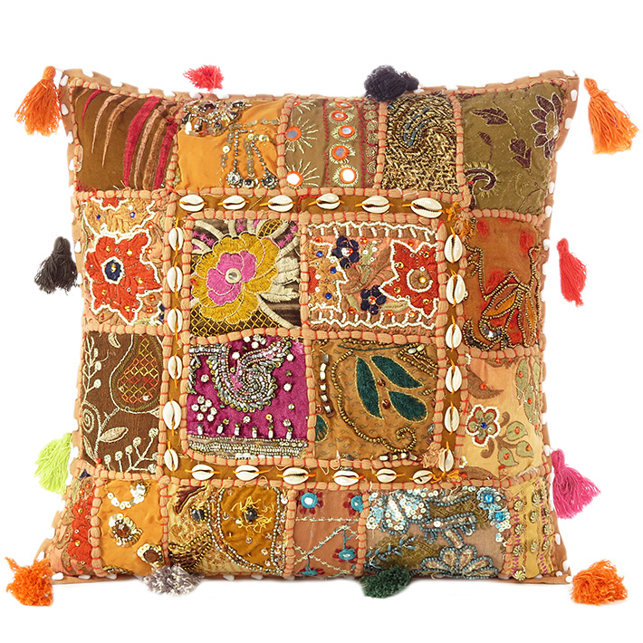 """Light Brown Patchwork Decorative Boho Throw Pillow Cushion Cover with Shells - 16"""""""