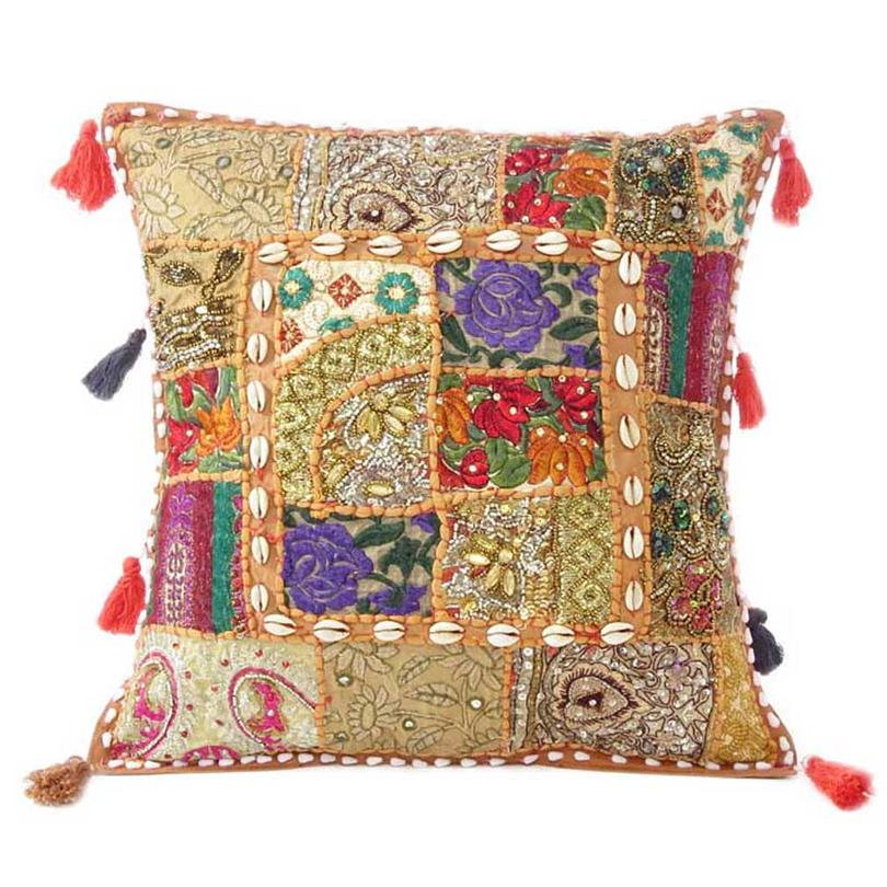 """Light Brown Patchwork Colorful Decorative Boho Sofa Throw Couch Pillow Cushion Cover with Shells - 16"""""""