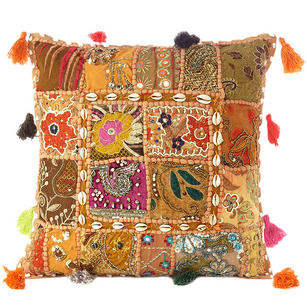 Light Brown Patchwork Colorful Decorative Boho Sofa Throw Couch Pillow Cushion Cover with Shells - 16""