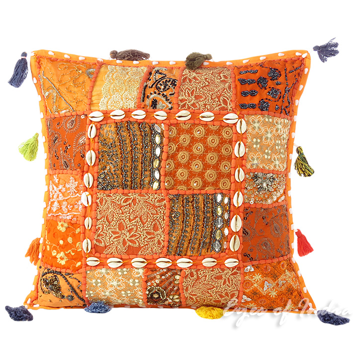 Orange Patchwork Boho Bohemian Throw Pillow Couch Cushion Cover with Shells - 16""