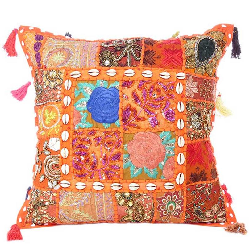 """Orange Patchwork Boho Bohemian Sofa Colorful Throw Pillow Couch Cushion Cover with Shells - 16"""""""