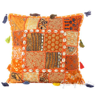 Orange Patchwork Boho Bohemian Sofa Colorful Throw Pillow Couch Cushion Cover with Shells - 16""