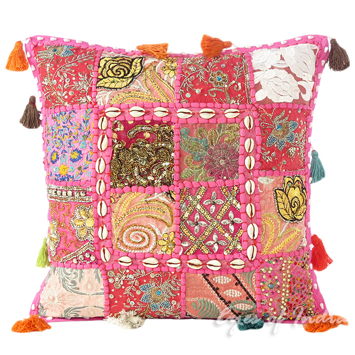 Pink Patchwork Colorful Decorative Sofa Throw Couch Pillow Bohemian Cushion Cover with Shells - 16""