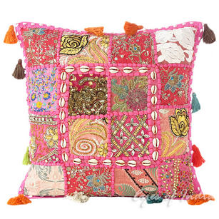 Pink Patchwork Decorative Throw Pillow Bohemian Cushion Cover with Shells - 16""
