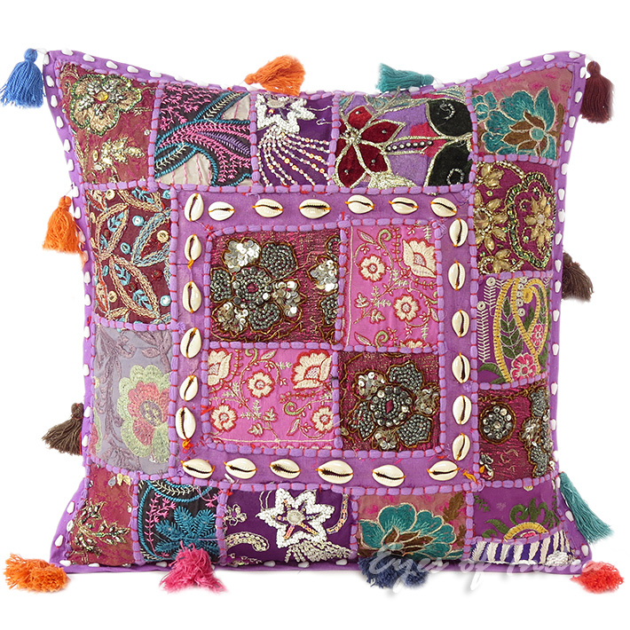 Purple Patchwork Colorful Decorative Boho Sofa Throw Couch Pillow Cushion Cover with Shells - 16""