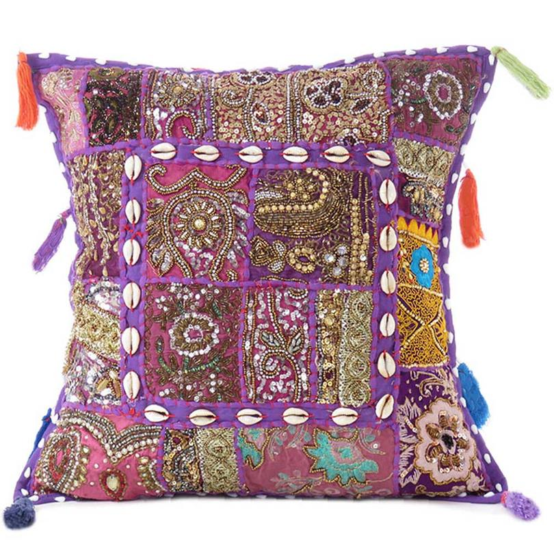 """Purple Patchwork Colorful Decorative Boho Sofa Throw Couch Pillow Cushion Cover with Shells - 16"""""""