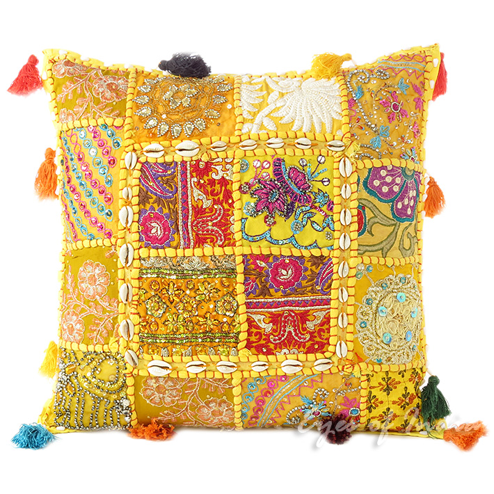 Yellow Patchwork Colorful Decorative Bohemian Sofa Throw Couch Pillow Cushion Cover with Shells - 16""