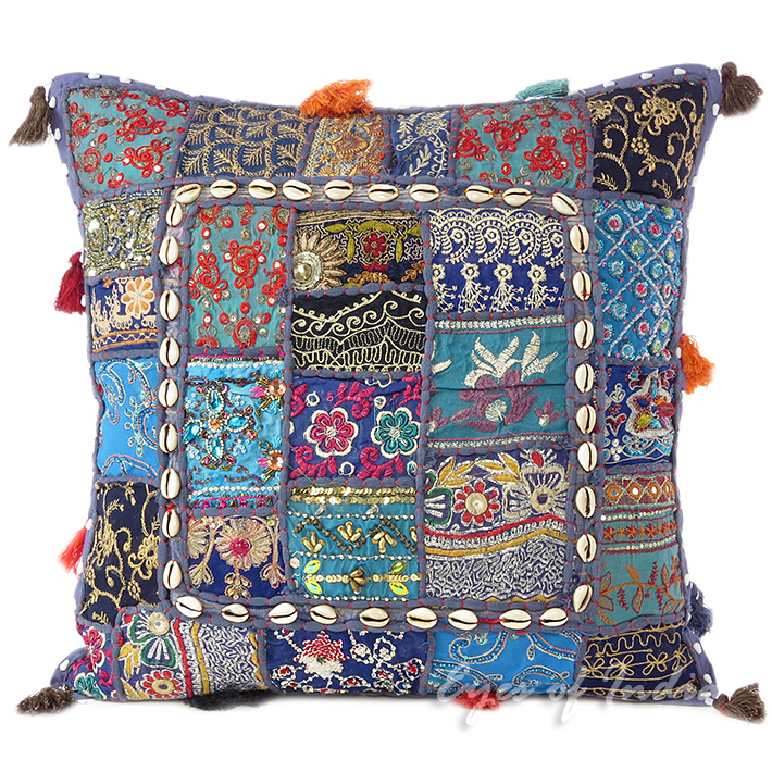 """Blue Patchwork Decorative Boho Pillow Couch Cushion Throw Cover with Shells - 20"""""""