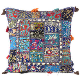 Blue Patchwork Colorful Decorative Boho Pillow Couch Cushion Sofa Throw Cover with Shells - 20""