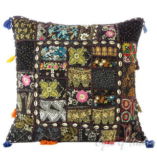 Black Patchwork Colorful Decorative Sofa Throw Couch Pillow Bohemian Boho Cushion Cover with Shells - 20""