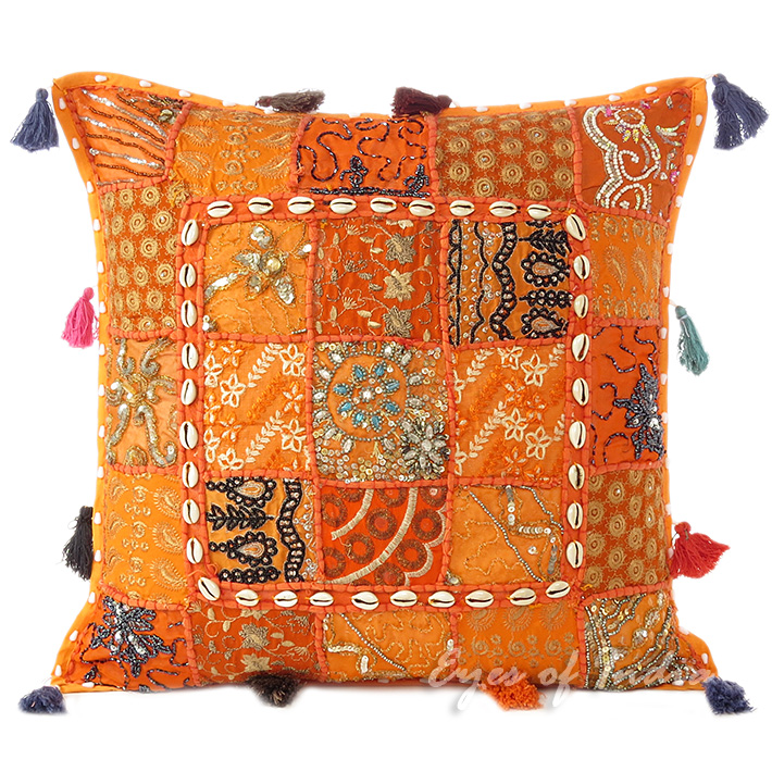 Orange Patchwork Sofa Colorful Throw Pillow Bohemian Boho Couch Cushion Cover with Shells - 20""