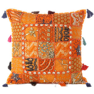 Orange Patchwork Throw Pillow Bohemian Boho Couch Cushion Cover with Shells - 20""