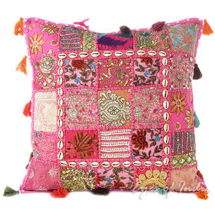 Pink Patchwork Sofa Colorful Throw Boho Bohemian Pillow Couch Cushion Cover with Shells - 20""