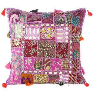Purple Patchwork Decorative Throw Pillow Bohemian Cushion Cover with Shells - 20""