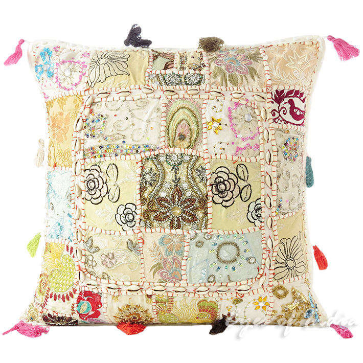 """White Patchwork Decorative Throw Pillow Bohemian Cushion Cover with Shells - 20"""""""