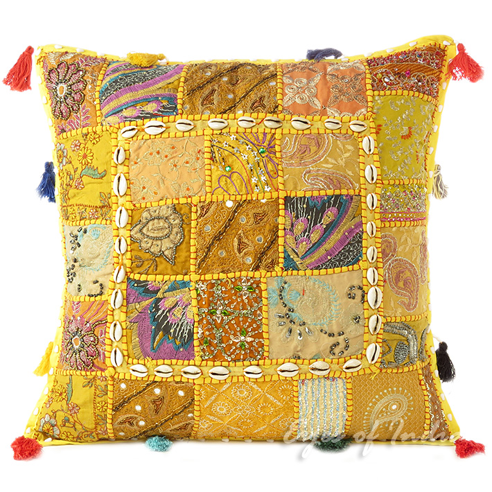 Yellow Patchwork Colorful Decorative Boho Couch Pillow Cushion Sofa Throw Cover with Shells - 20""