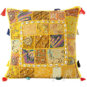 Yellow Patchwork Decorative Boho Pillow Cushion Throw Cover with Shells - 20""