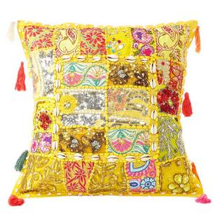 """Yellow Patchwork Colorful Decorative Boho Couch Pillow Cushion Sofa Throw Cover with Shells - 20"""""""