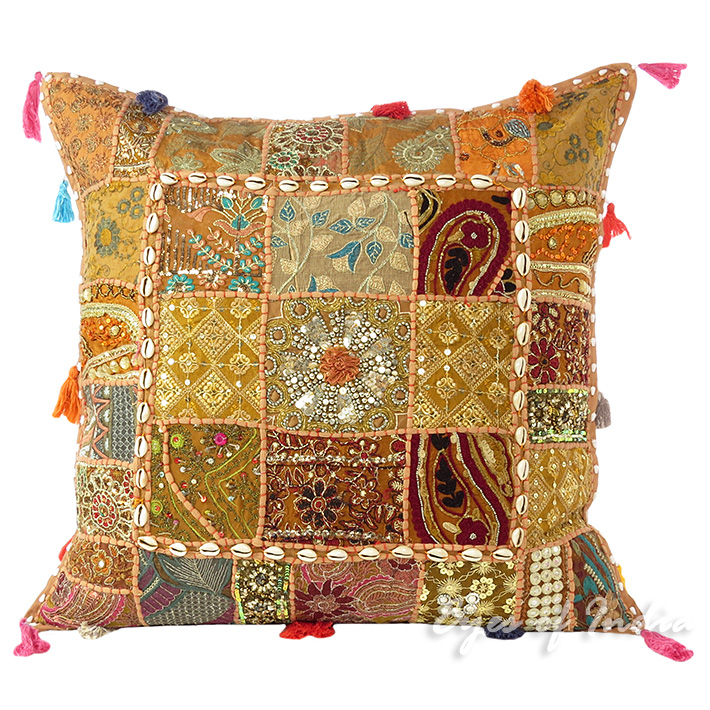 Light Brown Patchwork Decorative Boho Throw Pillow Cushion Cover with Shells - 24""