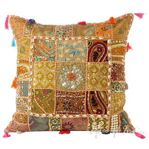 Light Brown Patchwork Colorful Decorative Boho Sofa Throw Couch Pillow Cushion Cover with Shells - 24""