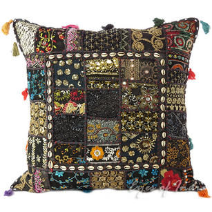 Black Patchwork Decorative Boho Throw Pillow Cushion Cover with Shells - 24""
