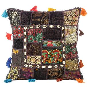 Black Patchwork Colorful Decorative Boho Sofa Throw Couch Pillow Cushion Cover with Shells - 24""