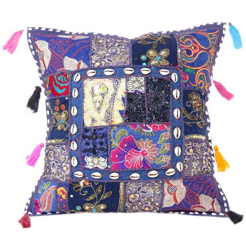 """Blue Patchwork Colorful Decorative Bohemian Boho Sofa Throw Couch Pillow Cushion Cover with Shells - 24"""""""
