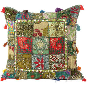 Green Patchwork Colorful Decorative Sofa Throw Couch Pillow Boho Cushion Cover with Shells - 24""