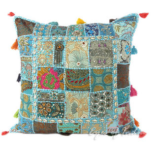 Light Blue Decorative Throw Pillow Bohemian Couch Cushion Cover with Shells - 24""