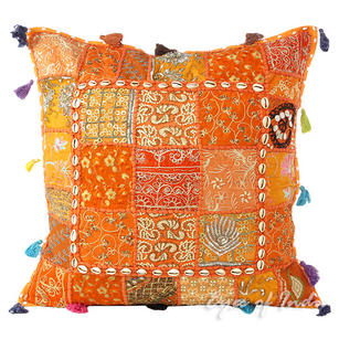 """Orange Patchwork Colorful Decorative Bohemian Sofa Throw Couch Pillow Cushion Cover with Shells - 24"""""""