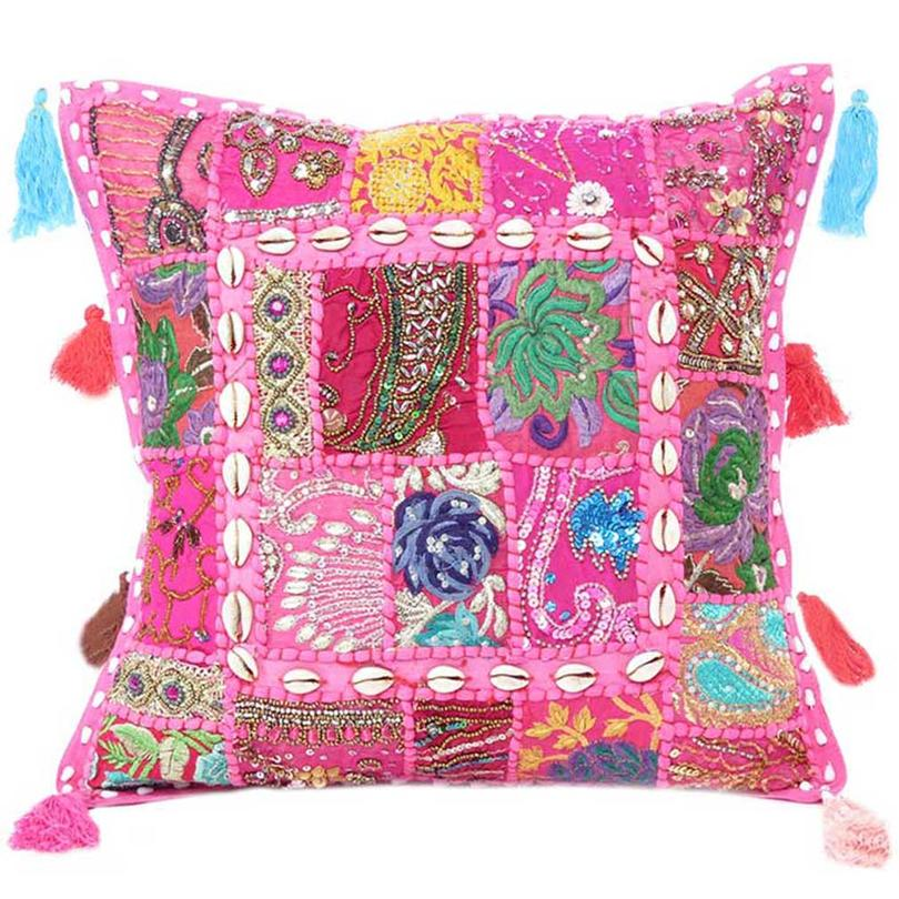 """Pink Patchwork Boho Sofa Colorful Throw Bohemian Pillow Couch Cushion Cover with Shells - 24"""""""